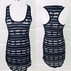 Patterson J. Kincaid Black Sheer Lace Mini Dress